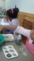 Painting eggs at the Fat Cat Art Cafe in Jackson.