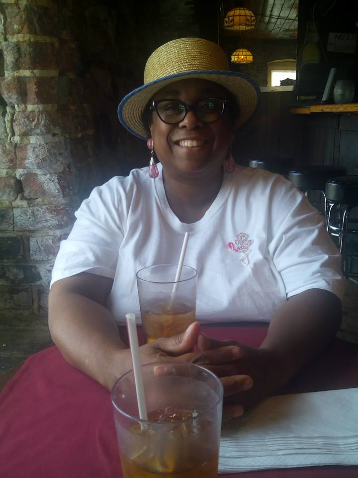 Malinda at lunch with Gary on River street 2016